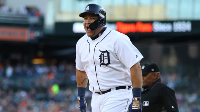 DETROIT, MICHIGAN - AUGUST 09: Miguel Cabrera #24 of the Detroit Tigers reacts after scoring a first inning run while playing the Kansas City Royals at Comerica Park on August 09, 2019 in Detroit, Michigan. (Photo by Gregory Shamus/Getty Images)