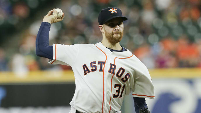HOUSTON, TEXAS - MAY 07: Collin McHugh #31 of the Houston Astros pitches in the first inning against the Kansas City Royals at Minute Maid Park on May 07, 2019 in Houston, Texas. (Photo by Bob Levey/Getty Images)