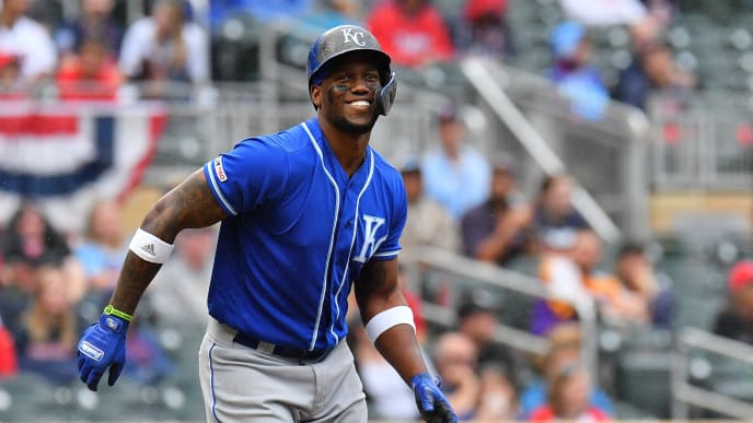 MINNEAPOLIS, MINNESOTA - SEPTEMBER 22:  Jorge Soler #12 of the Kansas City Royals reacts after drawing a walk against the Minnesota Twins in the 9th inning of their game at Target Field on September 22, 2019 in Minneapolis, Minnesota. The Twins defeated the Royals 12-8.  (Photo by Sam Wasson/Getty Images)