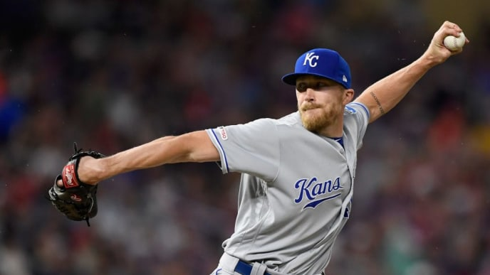 MINNEAPOLIS, MN - JUNE 14: Jake Diekman #40 of the Kansas City Royals delivers a pitch against the Minnesota Twins during the eighth inning of the game on June 14, 2019 at Target Field in Minneapolis, Minnesota. The Twins defeated the Royals 2-0. (Photo by Hannah Foslien/Getty Images)