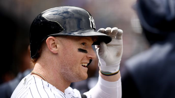 NEW YORK, NEW YORK - APRIL 21: Clint Frazier #77 of the New York Yankees looks on after hitting a three-run home run during the fifth inning of the game against the Kansas City Royals at Yankee Stadium on April 21, 2019 in the Bronx borough of New York City. (Photo by Sarah Stier/Getty Images)