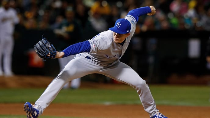 OAKLAND, CA - SEPTEMBER 16: Tim Hill #54 of the Kansas City Royals pitches against the Oakland Athletics during the fifth inning at the RingCentral Coliseum on September 16, 2019 in Oakland, California. The Kansas City Royals defeated the Oakland Athletics 6-5. (Photo by Jason O. Watson/Getty Images)