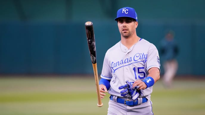 OAKLAND, CALIFORNIA - SEPTEMBER 17: Whit Merrifield #15 of the Kansas City Royals warms up prior to the game against the Oakland Athletics at Ring Central Coliseum on September 17, 2019 in Oakland, California. (Photo by Daniel Shirey/Getty Images)