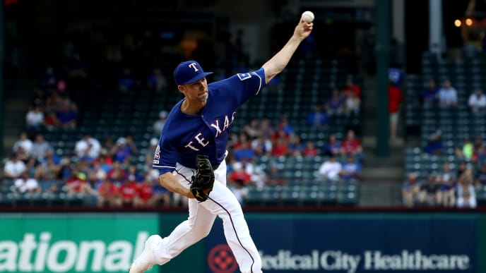 ARLINGTON, TEXAS - MAY 30: Mike Minor #23 of the Texas Rangers throws against the Kansas City Royals in the first inning at Globe Life Park in Arlington on May 30, 2019 in Arlington, Texas. (Photo by Ronald Martinez/Getty Images)