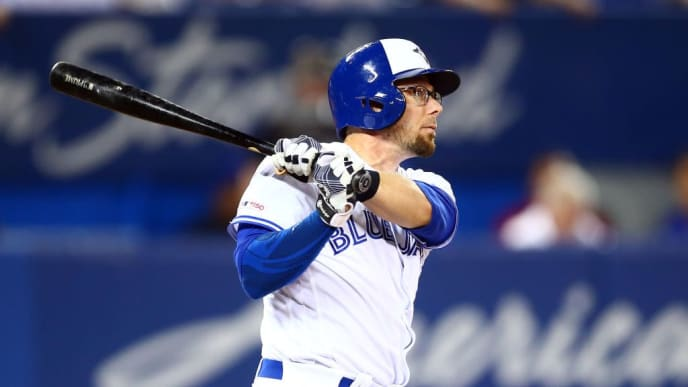 TORONTO, ON - JUNE 28:  Eric Sogard #5 of the Toronto Blue Jays hits a home run in the seventh inning during a MLB game against the Kansas City Royals at Rogers Centre on June 28, 2019 in Toronto, Canada.  (Photo by Vaughn Ridley/Getty Images)