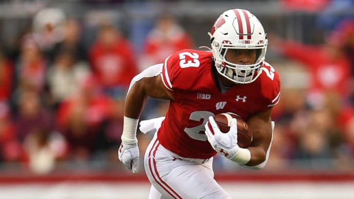 MADISON, WISCONSIN - OCTOBER 05:  Jonathan Taylor #23 of the Wisconsin Badgers runs for yards during a game against the Kent State Golden Flashes at Camp Randall Stadium on October 05, 2019 in Madison, Wisconsin. (Photo by Stacy Revere/Getty Images)
