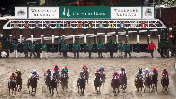 LOUISVILLE, KENTUCKY - MAY 04:  The field breaks from the gate at the start of the 145th running of the Kentucky Derby at Churchill Downs on May 04, 2019 in Louisville, Kentucky. (Photo by Jamie Squire/Getty Images)