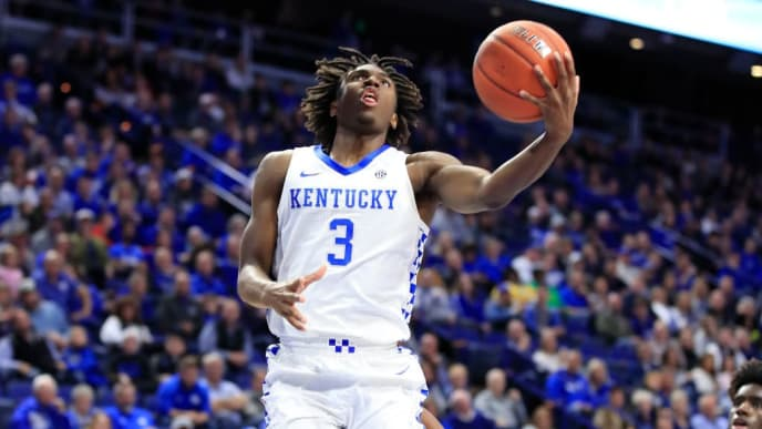 LEXINGTON, KENTUCKY - NOVEMBER 01:   Tyrese Maxey #3 of the Kentucky Wildcats shoots the ball against the Kentucky State Thorobreds at Rupp Arena on November 01, 2019 in Lexington, Kentucky. (Photo by Andy Lyons/Getty Images)
