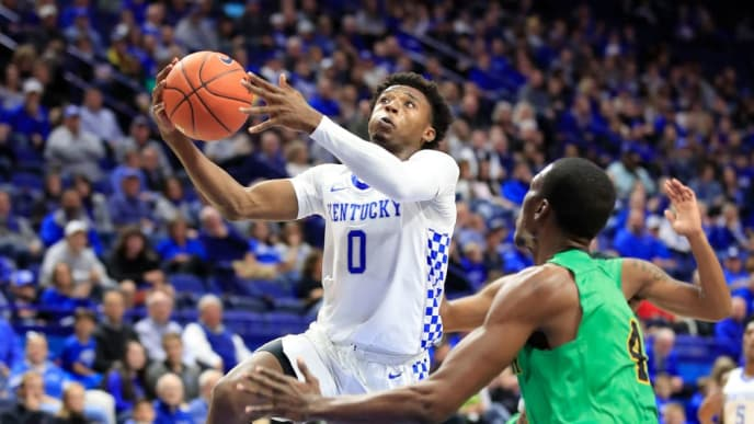 LEXINGTON, KENTUCKY - NOVEMBER 01:   Ashton Hagans #0 of the Kentucky Wildcats shoots the ball against the Kentucky State Thorobreds at Rupp Arena on November 01, 2019 in Lexington, Kentucky. (Photo by Andy Lyons/Getty Images)