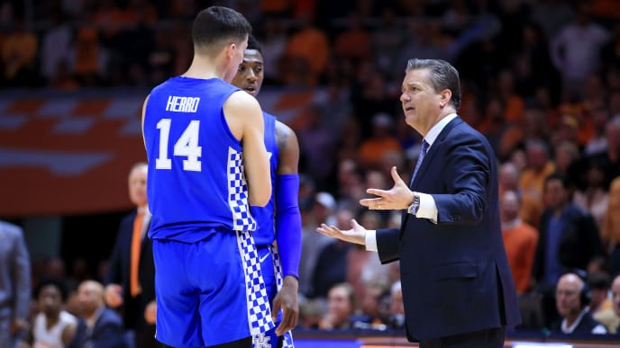 KNOXVILLE, TENNESSEE - MARCH 02:   John Calipari the head coach of the Kentucky Wildcats gives instructions to Tyler Herro #14 in the game against the Tennessee Volunteers at Thompson-Boling Arena on March 02, 2019 in Knoxville, Tennessee. (Photo by Andy Lyons/Getty Images)