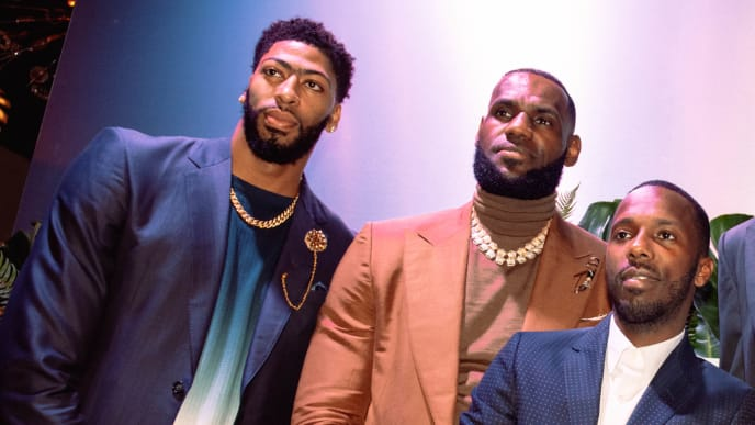CHARLOTTE, NC - FEBRUARY 16: (L-R) Anthony Davis, LeBron James, Rich Paul, Ben Simmons and Miles Bridges attend the Klutch 2019 All Star Weekend Dinner Presented by Remy Martin and hosted by Klutch Sports Group at 5Church on February 16, 2019 in Charlotte, North Carolina. (Photo by Dominique Oliveto/Getty Images for Klutch Sports Group 2019 All Star Weekend) (Photo by Dominique Oliveto/Getty Images for Klutch Sports Group 2019 All Star Weekend)