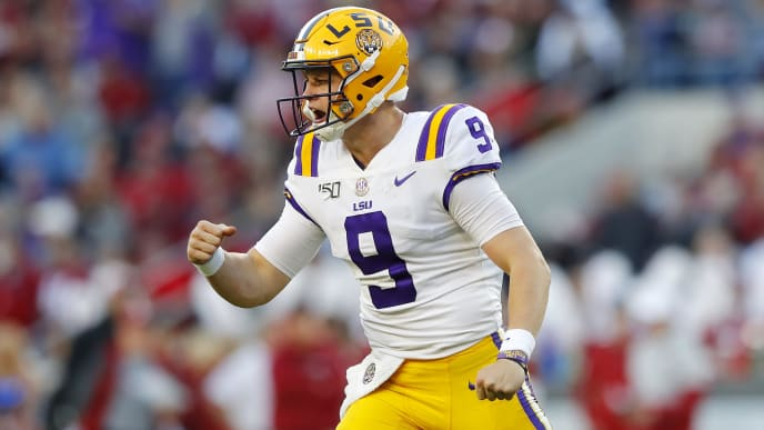 TUSCALOOSA, ALABAMA - NOVEMBER 09: Joe Burrow #9 of the LSU Tigers celebrates after throwing a 13-yard touchdown pass during the second quarter against the Alabama Crimson Tide in the game at Bryant-Denny Stadium on November 09, 2019 in Tuscaloosa, Alabama. (Photo by Kevin C. Cox/Getty Images)