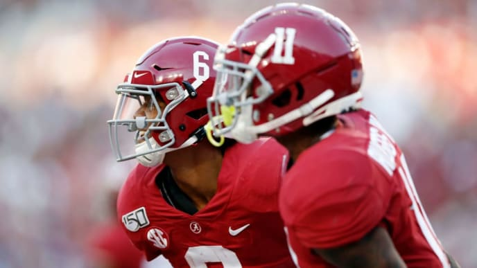 TUSCALOOSA, ALABAMA - NOVEMBER 09: DeVonta Smith #6 of the Alabama Crimson Tide celebrates after scoring a touchdown during the first half against the LSU Tigers in the game at Bryant-Denny Stadium on November 09, 2019 in Tuscaloosa, Alabama. (Photo by Todd Kirkland/Getty Images)
