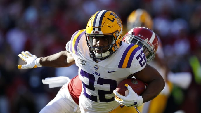 TUSCALOOSA, ALABAMA - NOVEMBER 09: Clyde Edwards-Helaire #22 of the LSU Tigers runs with the ball during the first half against the Alabama Crimson Tide in the game at Bryant-Denny Stadium on November 09, 2019 in Tuscaloosa, Alabama. (Photo by Kevin C. Cox/Getty Images)