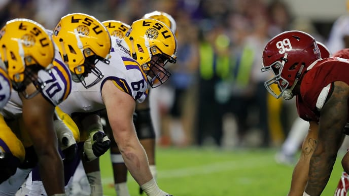 TUSCALOOSA, AL - NOVEMBER 04:  The LSU Tigers offense faces the Alabama Crimson Tide defense at Bryant-Denny Stadium on November 4, 2017 in Tuscaloosa, Alabama.  (Photo by Kevin C. Cox/Getty Images)
