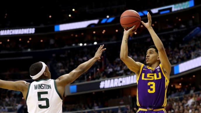 WASHINGTON, DC - MARCH 29: Tremont Waters #3 of the LSU Tigers shoots the ball against Cassius Winston #5 of the Michigan State Spartans during the second half in the East Regional game of the 2019 NCAA Men's Basketball Tournament at Capital One Arena on March 29, 2019 in Washington, DC. (Photo by Patrick Smith/Getty Images)