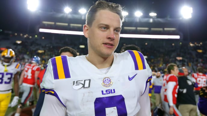 OXFORD, MISSISSIPPI - NOVEMBER 16: Joe Burrow #9 of the LSU Tigers reacts during a game against the Mississippi Rebels at Vaught-Hemingway Stadium on November 16, 2019 in Oxford, Mississippi. (Photo by Jonathan Bachman/Getty Images)
