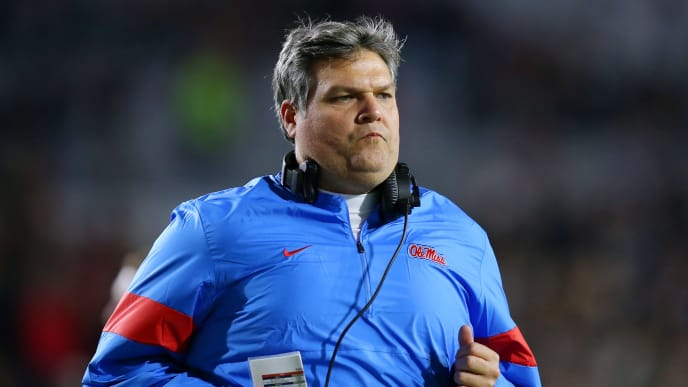 OXFORD, MISSISSIPPI - NOVEMBER 16: Head coach Matt Luke of the Mississippi Rebels  reacts during the second half of a game against the Mississippi Rebels at Vaught-Hemingway Stadium on November 16, 2019 in Oxford, Mississippi. (Photo by Jonathan Bachman/Getty Images)