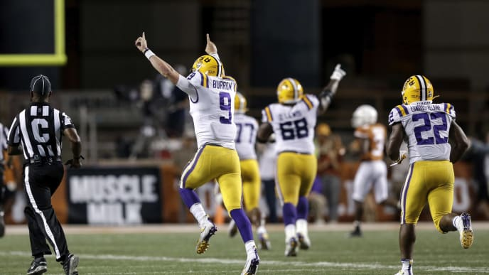 AUSTIN, TX - SEPTEMBER 07:  Joe Burrow #9 of the LSU Tigers celebrates after a touchdown pass in the fourth quarter against the Texas Longhorns at Darrell K Royal-Texas Memorial Stadium on September 7, 2019 in Austin, Texas.  (Photo by Tim Warner/Getty Images)