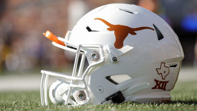 AUSTIN, TX - SEPTEMBER 07:  A Texas Longhorns helmet is seen before the game against the LSU Tigers at Darrell K Royal-Texas Memorial Stadium on September 7, 2019 in Austin, Texas.  (Photo by Tim Warner/Getty Images)