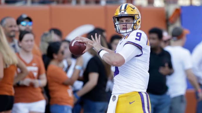 AUSTIN, TX - SEPTEMBER 07:  Joe Burrow #9 of the LSU Tigers warms up before the game against the Texas Longhorns at Darrell K Royal-Texas Memorial Stadium on September 7, 2019 in Austin, Texas.  (Photo by Tim Warner/Getty Images)