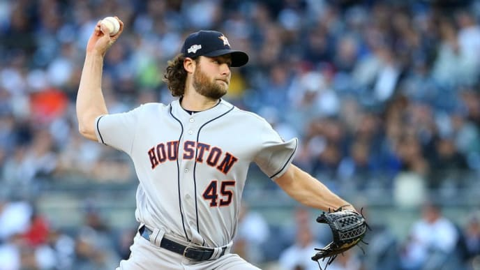NEW YORK, NEW YORK - OCTOBER 15:  Gerrit Cole #45 of the Houston Astros in action against the New York Yankees during game three of the American League Championship Series at Yankee Stadium at Yankee Stadium on October 15, 2019 in New York City. Houston Astros defeated the New York Yankees 4-1. (Photo by Mike Stobe/Getty Images)