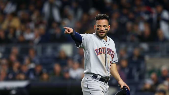 NEW YORK, NEW YORK - OCTOBER 17:  Jose Altuve #27 of the Houston Astros reacts against the New York Yankees during the third inning in game four of the American League Championship Series at Yankee Stadium on October 17, 2019 in New York City. (Photo by Mike Stobe/Getty Images)