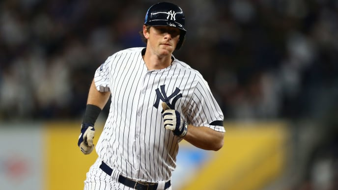 NEW YORK, NEW YORK - OCTOBER 18:  DJ LeMahieu #26 of the New York Yankees in action against the Houston Astros in game five of the American League Championship Series at Yankee Stadium on October 18, 2019 in New York City. (Photo by Mike Stobe/Getty Images)