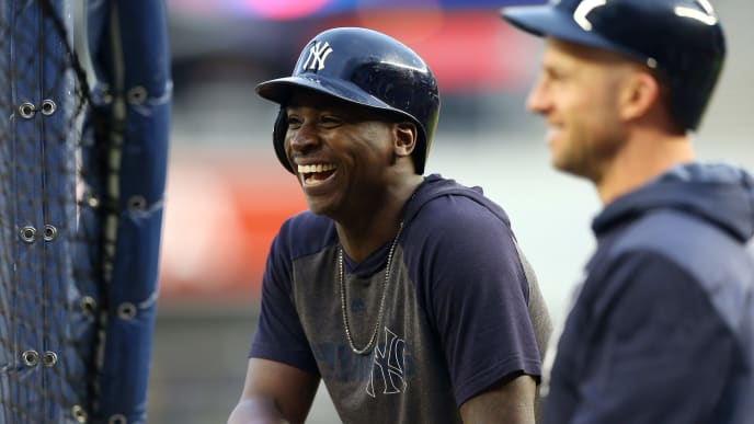 NEW YORK, NEW YORK - OCTOBER 17:   Didi Gregorius #18 of the New York Yankees looks on during batting practice prior to game four of the American League Championship Series against the Houston Astros at Yankee Stadium on October 17, 2019 in New York City. (Photo by Mike Stobe/Getty Images)