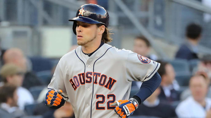 NEW YORK, NEW YORK - OCTOBER 15: Josh Reddick #22 of the Houston Astros runs the bases after hitting a solo home run during the second inning against the New York Yankees in game three of the American League Championship Series at Yankee Stadium on October 15, 2019 in New York City. (Photo by Elsa/Getty Images)