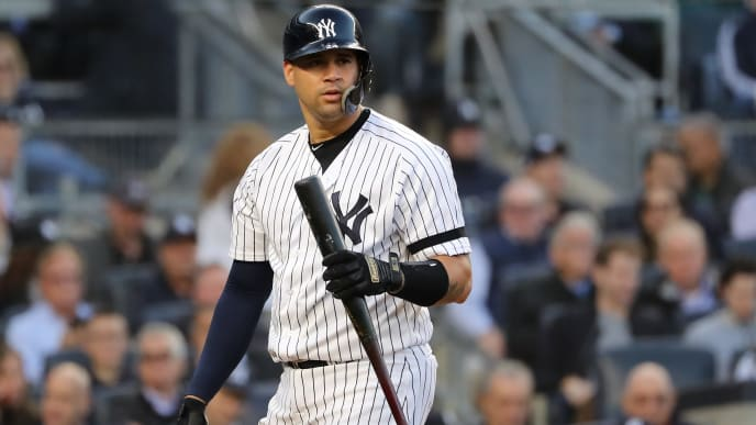 NEW YORK, NEW YORK - OCTOBER 15: Gary Sanchez #24 of the New York Yankees reacts after striking out swinging during the fourth inning against the Houston Astros in game three of the American League Championship Series at Yankee Stadium on October 15, 2019 in New York City. (Photo by Elsa/Getty Images)