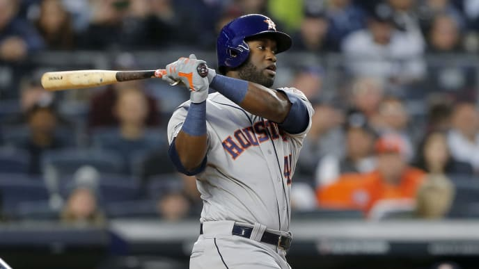 NEW YORK, NEW YORK - OCTOBER 15:  (NEW YORK DAILIES OUT)    Yordan Alvarez #44 of the Houston Astros in action against the New York Yankees in game three of the American League Championship Series at Yankee Stadium on October 15, 2019 in New York City. The Astros defeated the Yankees 4-1. (Photo by Jim McIsaac/Getty Images)
