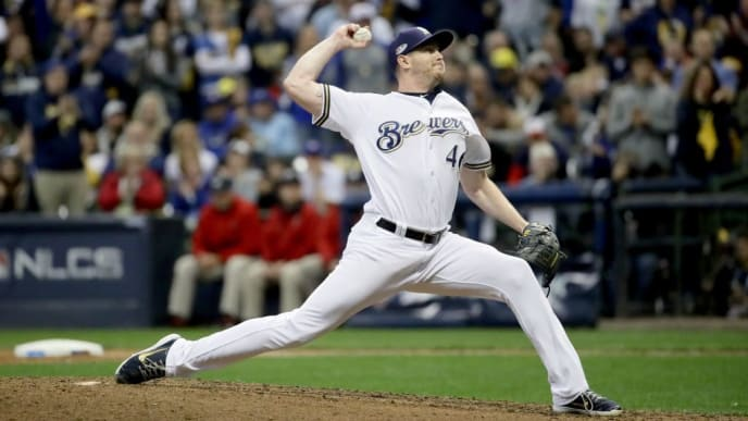 MILWAUKEE, WI - OCTOBER 20:  Corey Knebel #46 of the Milwaukee Brewers throws a pitch against the Los Angeles Dodgers in Game Seven of the National League Championship Series at Miller Park on October 20, 2018 in Milwaukee, Wisconsin.  (Photo by Jonathan Daniel/Getty Images)