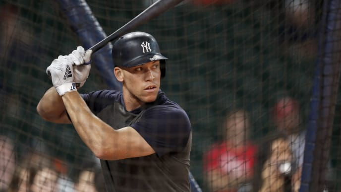 HOUSTON, TX - OCTOBER 19:  Aaron Judge #99 of the New York Yankees takes batting practice before Game Six of the League Championship Series against the Houston Astros at Minute Maid Park on October 19, 2019 in Houston, Texas.  (Photo by Tim Warner/Getty Images)