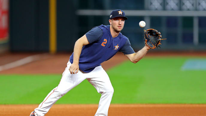HOUSTON, TEXAS - OCTOBER 19:  Alex Bregman #2 of the Houston Astros warms up during batting practice prior to game six of the American League Championship Series against the New York Yankees at Minute Maid Park on October 19, 2019 in Houston, Texas. (Photo by Bob Levey/Getty Images)