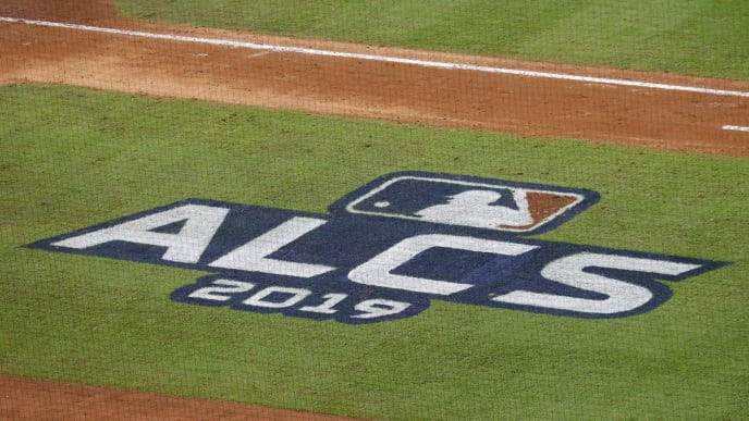 HOUSTON, TX - OCTOBER 13:  A view of the ALCS logo during game two of the American League Championship Series between the Houston Astros and the New York Yankees at Minute Maid Park on October 13, 2019 in Houston, Texas.  (Photo by Tim Warner/Getty Images)