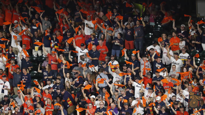 HOUSTON, TX - OCTOBER 19:  Houston Astros fans wave rally towels during Game Six of the League Championship Series against the New York Yankees at Minute Maid Park on October 19, 2019 in Houston, Texas.  (Photo by Tim Warner/Getty Images)