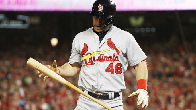 WASHINGTON, DC - OCTOBER 15: Paul Goldschmidt #46 of the St. Louis Cardinals reacts as he strikes out in the fifth inning against the Washington Nationals during game four of the National League Championship Series at Nationals Park on October 15, 2019 in Washington, DC. (Photo by Patrick Smith/Getty Images)
