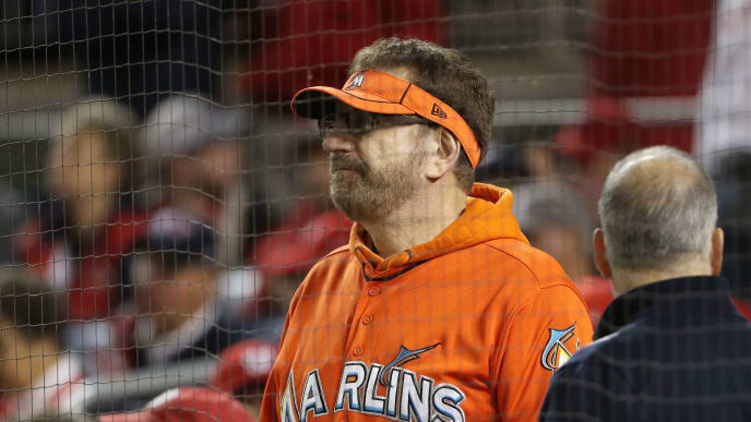WASHINGTON, DC - OCTOBER 15: Marlins Man looks on during game four of the National League Championship Series between the Washington Nationals and the St. Louis Cardinals at Nationals Park on October 15, 2019 in Washington, DC. (Photo by Patrick Smith/Getty Images)
