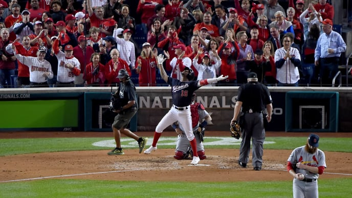 WASHINGTON, DC - OCTOBER 14: Victor Robles #16 of the Washington Nationals celebrates after hitting a solo home run against the St. Louis Cardinals during the sixth inning of Game Three of the National League Championship Series at Nationals Park on October 14, 2019 in Washington, DC. (Photo by Will Newton/Getty Images)