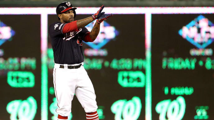 WASHINGTON, DC - OCTOBER 14: Howie Kendrick #47 of the Washington Nationals celebrates by doing baby shark with his hands after his double in the seventh inning of game three of the National League Championship Series against the St. Louis Cardinals at Nationals Park on October 14, 2019 in Washington, DC. (Photo by Patrick Smith/Getty Images)