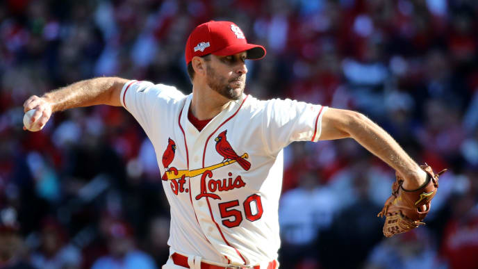 ST LOUIS, MISSOURI - OCTOBER 12: Adam Wainwright #50 of the St. Louis Cardinals delivers during the second inning of game two of the National League Championship Series against the Washington Nationals at Busch Stadium on October 12, 2019 in St Louis, Missouri. (Photo by Scott Kane/Getty Images)