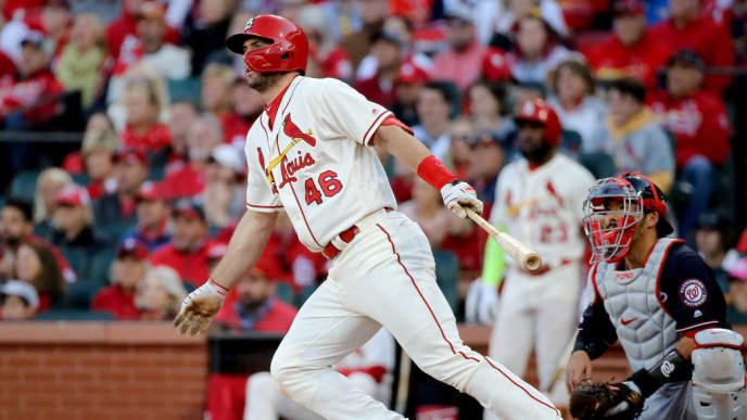 ST LOUIS, MISSOURI - OCTOBER 12: Paul Goldschmidt #46 of the St. Louis Cardinals hits a single during the seventh inning against the Washington Nationals in game two of the National League Championship Series at Busch Stadium on October 12, 2019 in St Louis, Missouri. (Photo by Scott Kane/Getty Images)