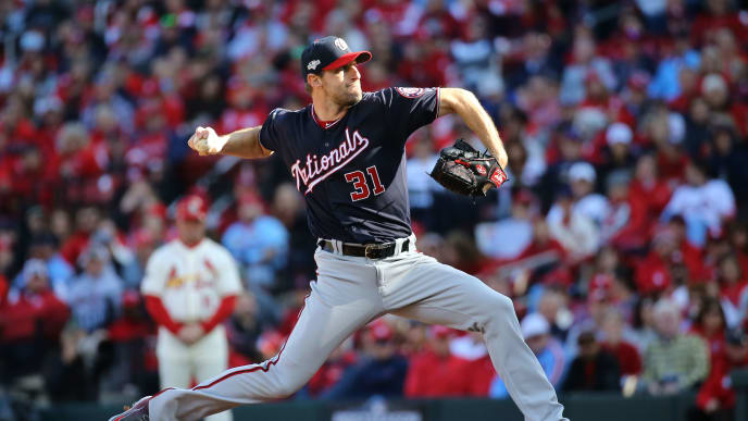 ST LOUIS, MISSOURI - OCTOBER 12: Max Scherzer #31 of the Washington Nationals delivers during the second inning of game two of the National League Championship Series against the St. Louis Cardinals at Busch Stadium on October 12, 2019 in St Louis, Missouri. (Photo by Scott Kane/Getty Images)
