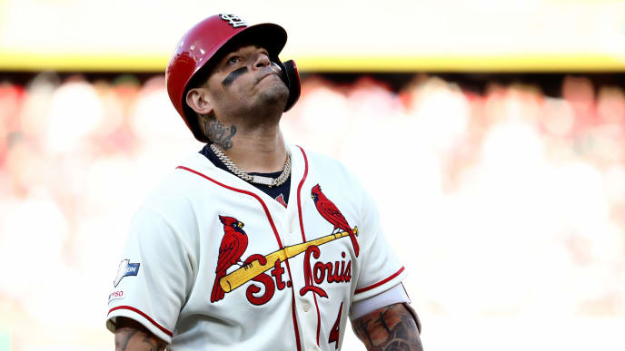 ST LOUIS, MISSOURI - OCTOBER 12: Catcher Yadier Molina #4 of the St. Louis Cardinals reacts after hitting into a double play to end the seventh inning of game two of the National League Championship Series against the Washington Nationals at Busch Stadium on October 12, 2019 in St Louis, Missouri. (Photo by Jamie Squire/Getty Images)