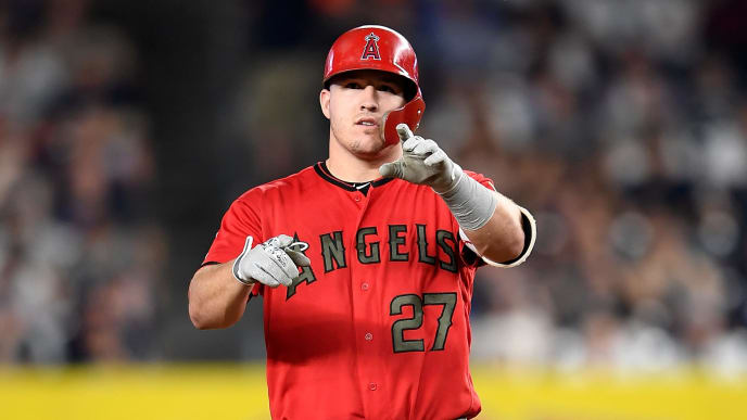 NEW YORK, NY - MAY 26:  Mike Trout #27 of the Los Angeles Angels stands on second base during the game against the New York Yankees at Yankee Stadium on May 26, 2018 in New York City.  (Photo by G Fiume/Getty Images)