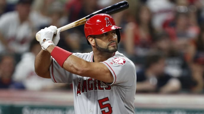 CLEVELAND, OH - AUGUST 03:  Albert Pujols #5 of the Los Angeles Angels of Anaheim bats against the Cleveland Indians in the ninth inning at Progressive Field on August 3, 2019 in Cleveland, Ohio.  The Indians defeated the Angels 7-2.  (Photo by David Maxwell/Getty Images)