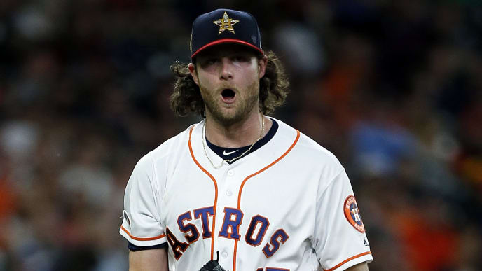 HOUSTON, TEXAS - JULY 06: Gerrit Cole #45 of the Houston Astros reacts after striking out Kole Calhoun #56 of the Los Angeles Angels of Anaheim to end the sixth inning at Minute Maid Park on July 06, 2019 in Houston, Texas. (Photo by Bob Levey/Getty Images)