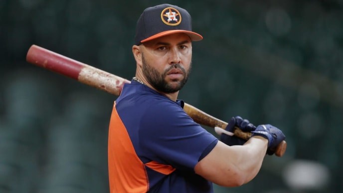 HOUSTON, TX - APRIL 18:  Carlos Beltran #15 of the Houston Astros during batting practice before playing the Los Angeles Angels of Anaheim at Minute Maid Park on April 18, 2017 in Houston, Texas.  (Photo by Bob Levey/Getty Images)