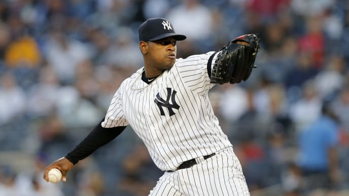 NEW YORK, NEW YORK - SEPTEMBER 17:   Luis Severino #40 of the New York Yankees pitches against the Los Angeles Angels of Anaheim at Yankee Stadium on September 17, 2019 in the Bronx borough of New York City. (Photo by Jim McIsaac/Getty Images)
